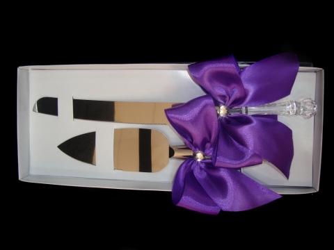 нож и лопатка для свадебного торат фиолетовые фото