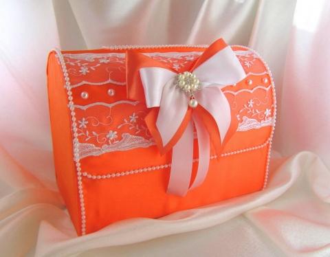 оранжевая кробка для денег на свадьбу фото