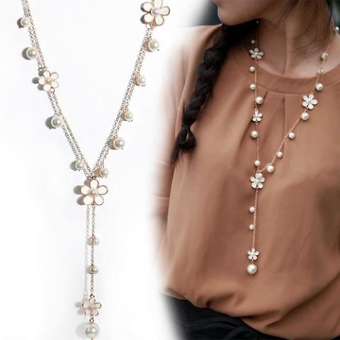 длинное ожерелье с цветами фото