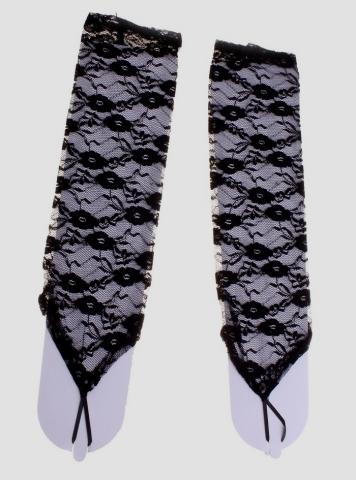 перчатки черные гипюровые