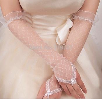 перчатки длинные кружевные айвори