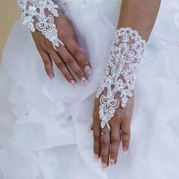 перчатки свадебные короткие кружевные купить