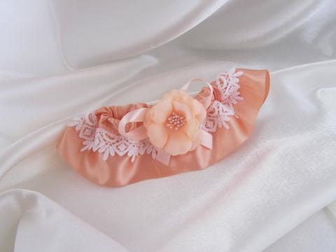 персиковые свадебные подвязки купить