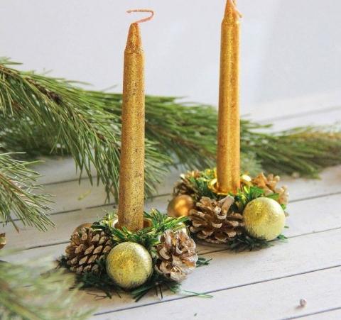 новогодние свечи с подсвечниками фото