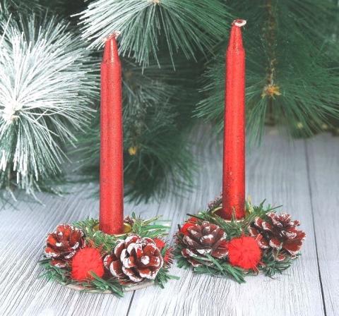 свечи новогодние красные купить