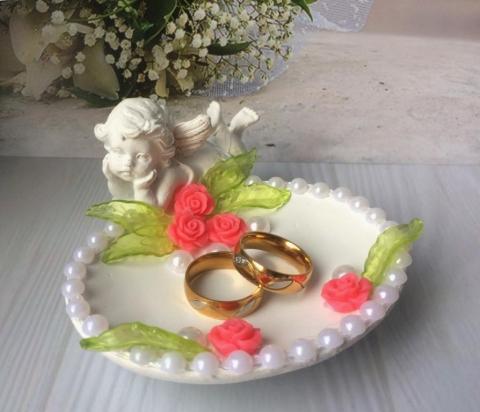 подставка для колец ангел с ярко-розовым декором