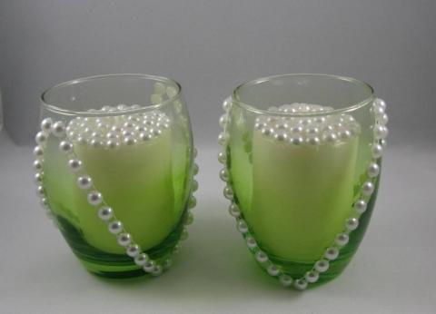 зеленый подсвечник с жемчужинами для стола на свадьбу купить