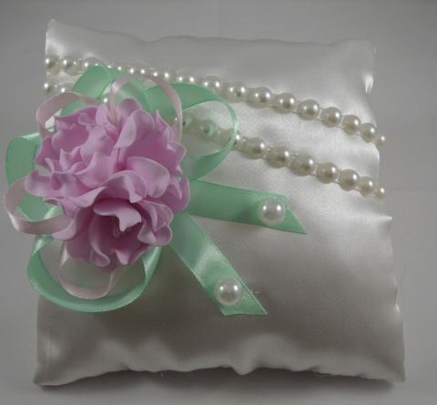 подушечка для колец мятно-розовая купить