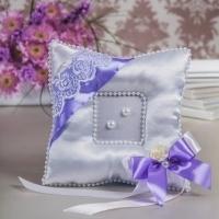 сиреневая подушечка для обручальных колец на свадьбу купить