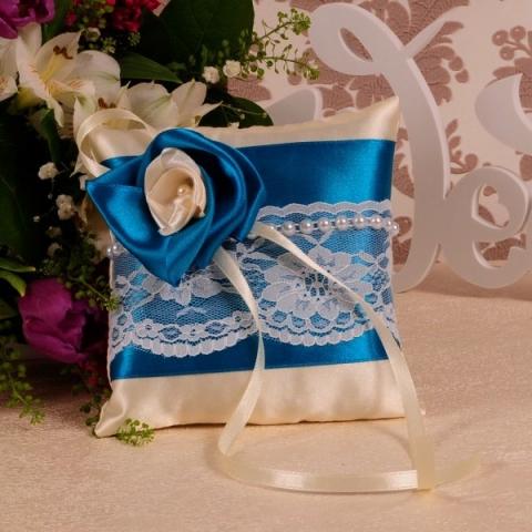 подушечка для колец синяя купить