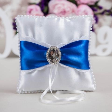 подушечка под кольца с синим декором