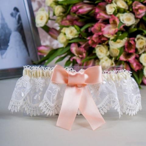 подвязка невесты персиковая французское кружево