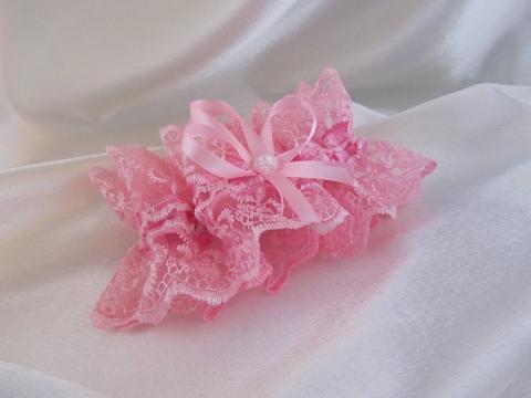 розовая свадебная подвязки фото