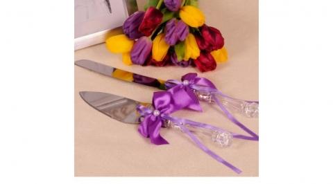 нож и лопатка для свадебного торта фуксия фото