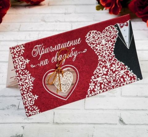 свадебное приглашение бордовое фото