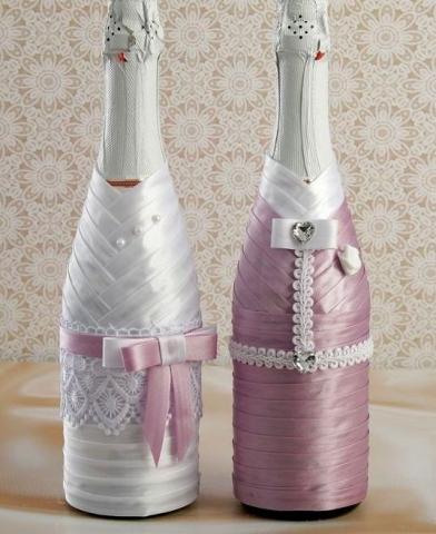 лавандовое украшение на свадебное шампанское