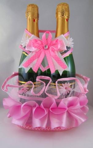 розовая свадьба украшения для шампанского фото