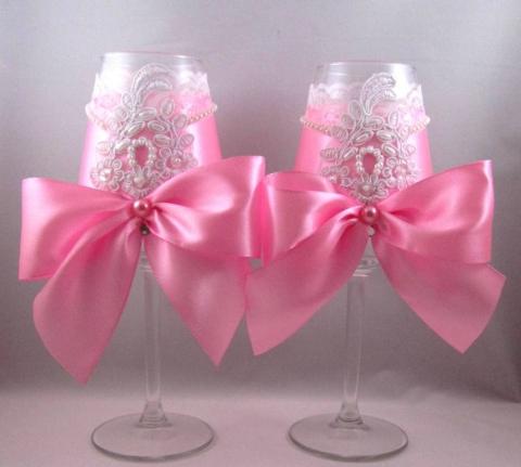 розовые свадебные бокалы ручной работы