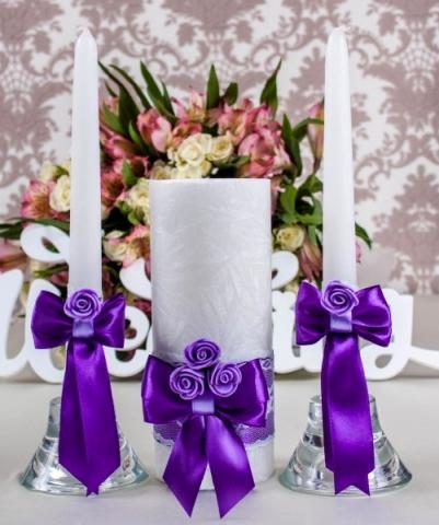 свадебные свечи фиолетовые купить