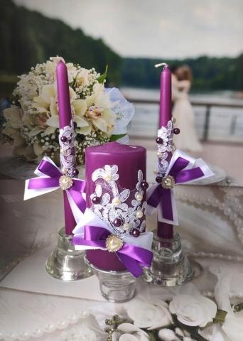 свечи очаг фиолетовые комплект фото