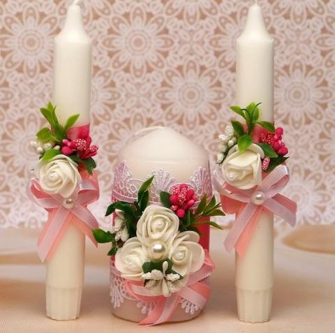 розовые свечи очаг на свадьбу sale-svadba.ru