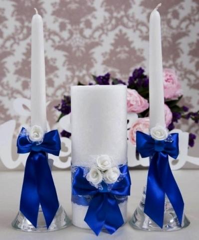 купить синие свадебные свечи
