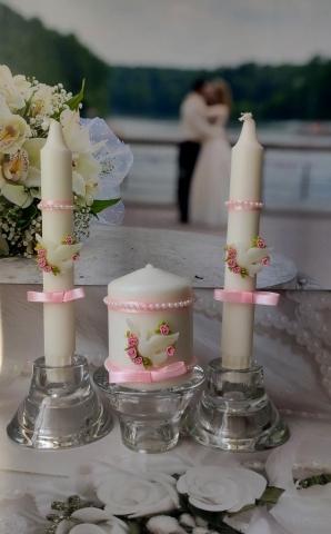 свечи свадебные с голубями фото