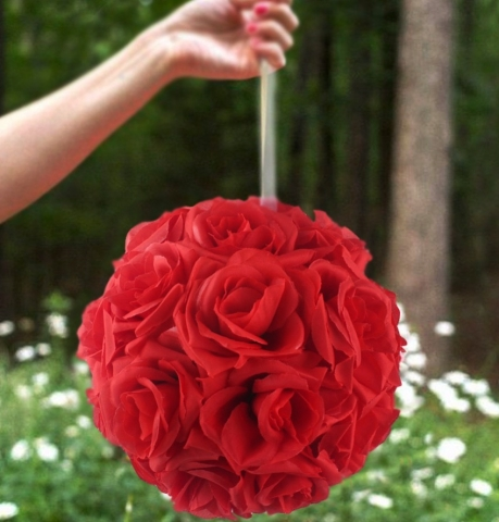 шар из искусственных цветоч красный купить