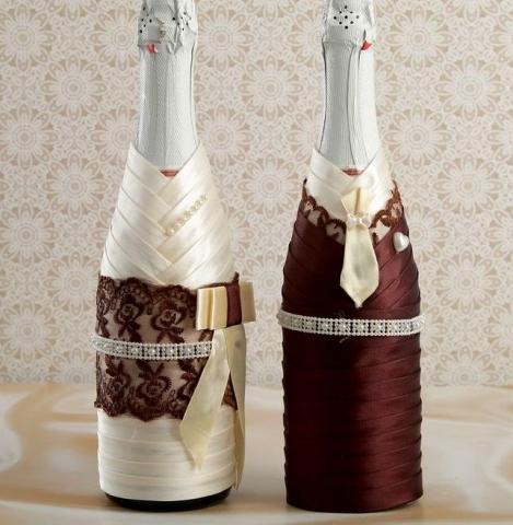 шоколадные украшения на свадебное шампанское