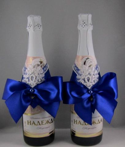 украшение на шампанское синее купить