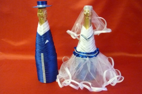 костюмы на шампанское синие жених и невеста фото