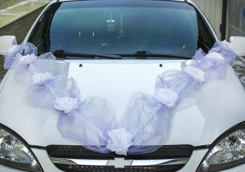 сиреневая лента на машину на свадьбу фото