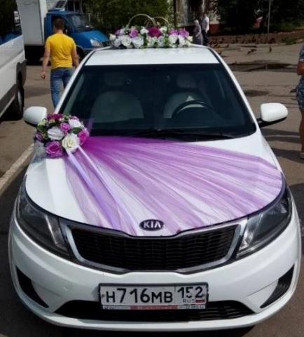 сиренево-лиловый комплект на свадебную машину