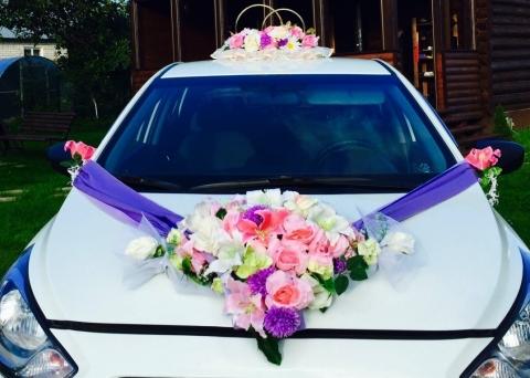 комплект на машину сиренево-розовый фото
