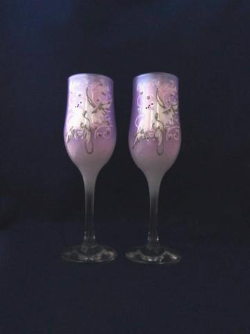 сиреневые бокалы на свадьбу фото