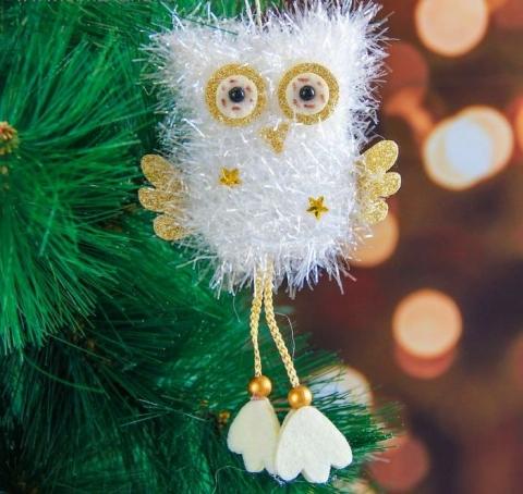 сова на елку, сова елочная игрушка