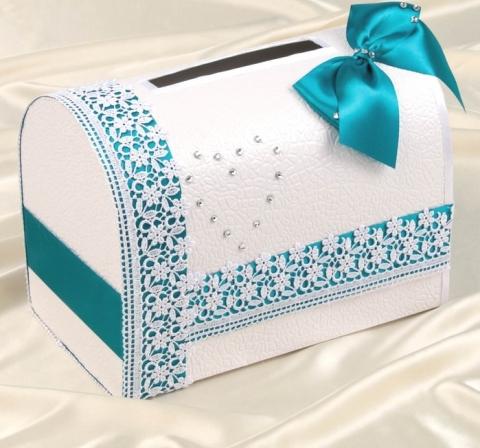 коробка для денег бирюзовая фото