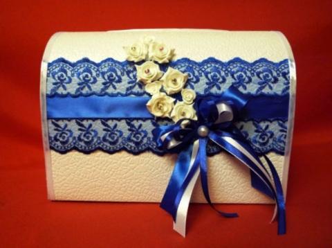 синяя свадебная коробка фото
