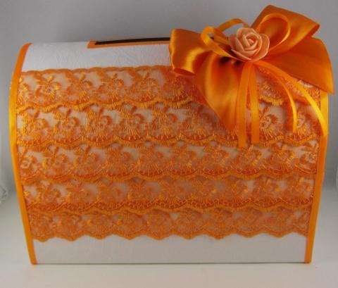 оранжевый сундучок для денег на свадьбу купить