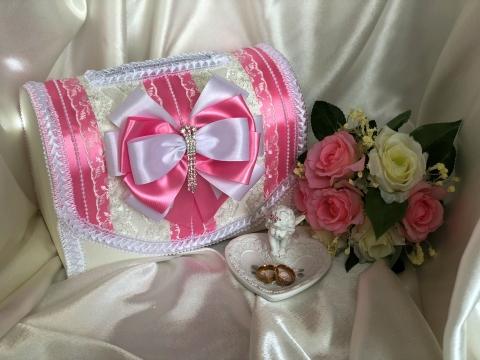 сундучок розовый для денег свадебный