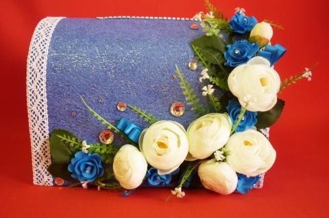 синий сундучок с цветами купить