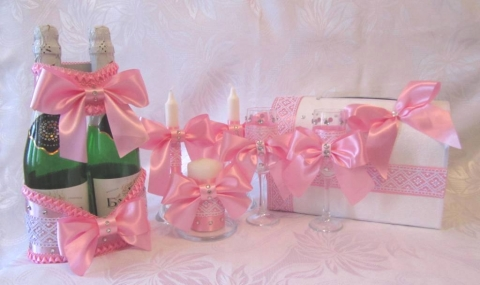 розовый свадебный набор фото