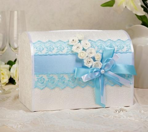 коробка для денег голубая фото