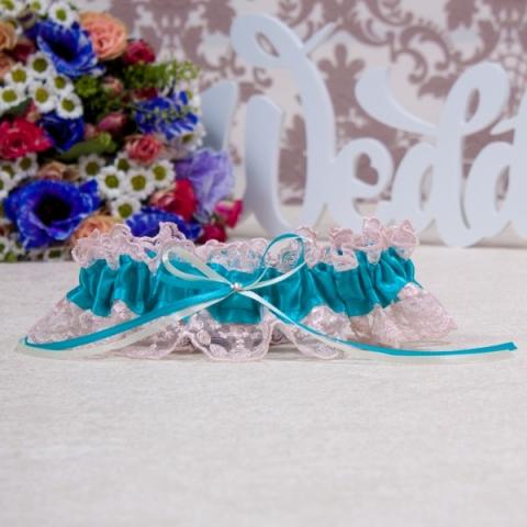 свадебная подвязка синяя морсая волна фото