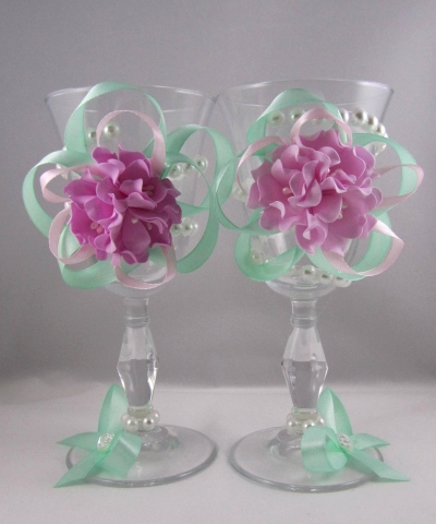 бокалы в мятно-розовом цвете купить