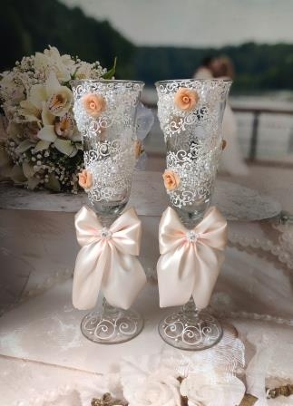 свадебные бокалы бежевые купить