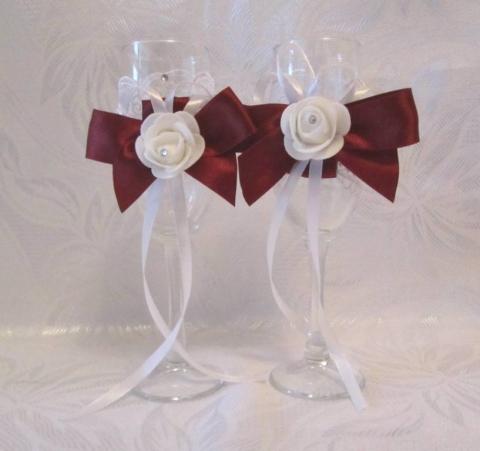 свадебные бокалы марсала, бордовые фото