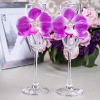 свадебные бокалы фиолетовые орхидеи фото
