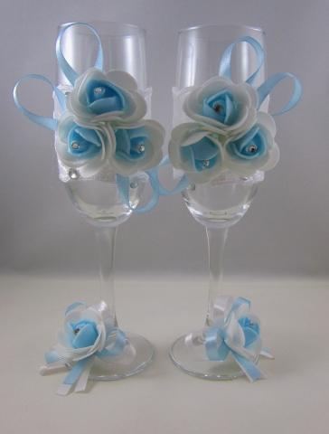 бокалы на свадьбу голубые фото