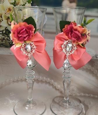 коралловые свадебные бокалы фото сегодня 12:24